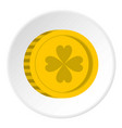golden coin with clover sign icon circle vector image vector image