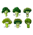 Green broccoli vegetables cartoon characters vector image vector image