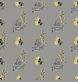 hand drawn meadow flowers leaves seamless pattern vector image