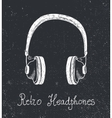 hand drawn retro headphones earphones vector image