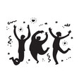 happy jumping group people silhouette black and vector image