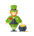 happy leprechaun with a pot vector image