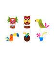 hawaiian symbols set summer vacation tropical vector image