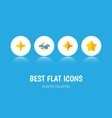 icon flat midnight set of starlet asterisk night vector image