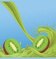 kiwis sweet juice splash vector image