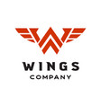 letter w for wings logo vector image