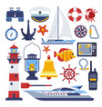 marine and nautical flat icons vector image