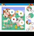 match pieces puzzle with farm animal characters vector image vector image