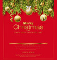merry christmas red card with golden glitter balls vector image