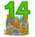 number fourteen and cartoon cats group vector image vector image