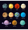 Planets of solar system cartoon set on dark vector image