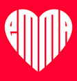 popular female name Emma and heart vector image vector image