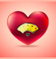 red heart with fuel gauge love heart indicator vector image vector image