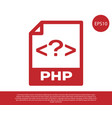 red php file document icon download php button vector image vector image