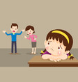 sad child girl with angry dad and mom quarreling