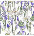 seamless pattern with iris and herbs endless vector image vector image