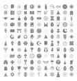 set of monochrome icons with religious symbols vector image
