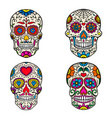 set of sugar skulls isolated on white backgroun vector image vector image