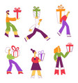 set people carrying wrapped vector image vector image