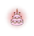 Three-tiered birthday cake with candle comics icon vector image vector image