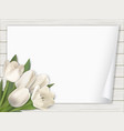 tulip flowers paper on wooden background vector image vector image