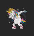 unicorns are dabbing in full color vector image vector image