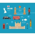 United Kingdom flat icons vector image