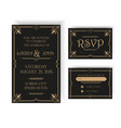 Wedding Invitation and RSVP Card - Art Deco vector image