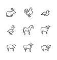 Farm animals line icons set vector image