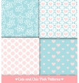 Pink and blue seamless patterns set vector image