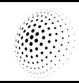 abstract halftone 3d sphere of circle dots in vector image vector image