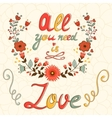 All you need is love concept card vector image vector image