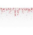 beautiful red confetti and ribbon vector image vector image