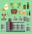 beer brewing process factory flat style vector image