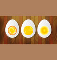 boiled eggs wooden background vector image