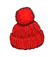 Bright red winter knitted hat with pompon vector image vector image