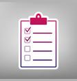 checklist sign purple vector image vector image