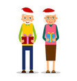 christmas elderly older couple with presents vector image vector image