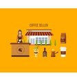 Coffee shop design elements vector image