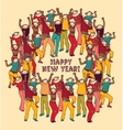 Crowd monkey new year color card vector image vector image