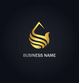 droplet water abstract gold logo vector image