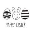 easter greeting with eggs and bunny face vector image vector image