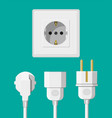 electrical outlet with several connected cables vector image