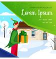 elf delivering christmas present at home banner vector image
