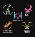 food neon lights advertising vector image