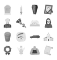 Funeral ceremony set icons in monochrome style vector image vector image