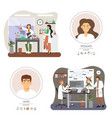 genetic and chemistry science laboratory set flat vector image