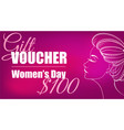 gift certificate for a girl on march 8 vector image vector image