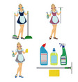 girl maid cleaner vector image