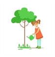 Girl Watering Tree Helping In Eco-Friendly vector image vector image